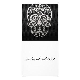 Skull black silver metal 04 photo greeting card