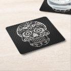 Skull, black silver metal 04 square paper coaster