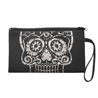 Skull black silver metal 04 wristlet purse