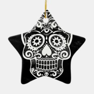 Skull black white04 christmas tree ornament