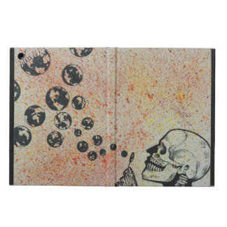 skull blowing earth iPad air cases
