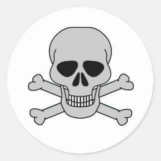 skull&bones-white classic round sticker