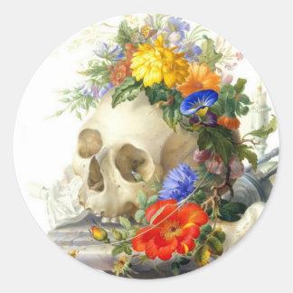 Skull Bouquet Classic Round Sticker