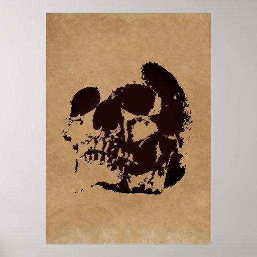 Skull Brown Pop Art Poster