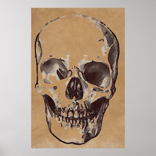 Skull Brown Pop Art Stylish Trendy Poster