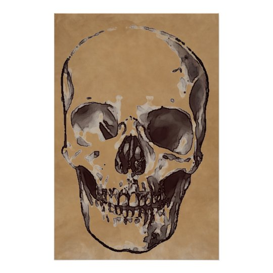 Skull Brown Pop Art Stylish Trendy Poster