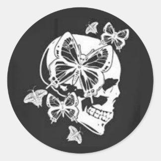 Skull & Butterfly Round Sticker