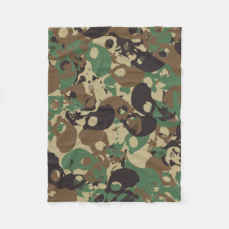 Skull camouflage fleece blanket