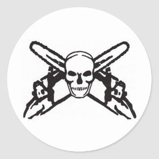 Skull & Chainsaws Round Sticker