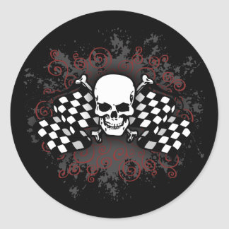 Skull-checkered flags-splat classic round sticker