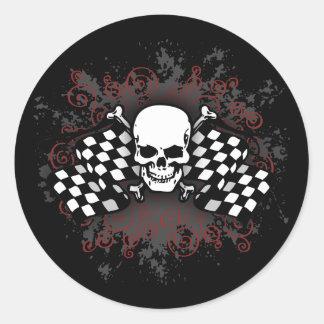 Skull-checkered flags-splat classic round sticker