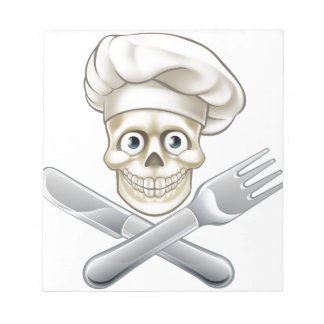 Skull Chef Pirate Cartoon Notepad