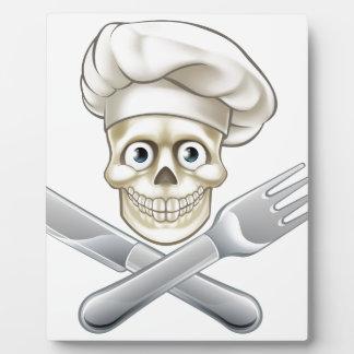 Skull Chef Pirate Cartoon Plaque