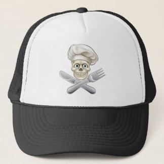 Skull Chef Pirate Cartoon Trucker Hat