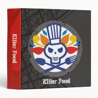 Skull chef utensils crossbones catering biz cards 3 ring binder