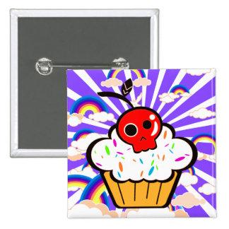 Skull Cherry Cupcake Rainbow Sky 2 Inch Square Button