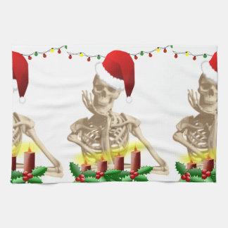 skull christmas kitchen towel