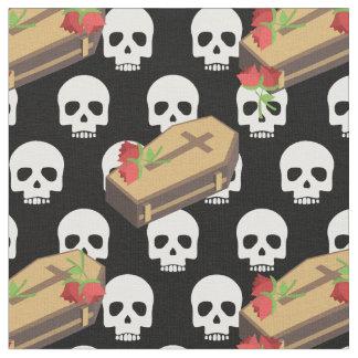 skull coffin emojis fabric