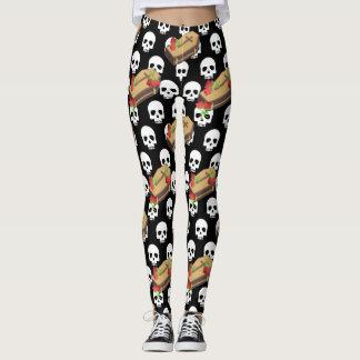 skull coffin emojis leggings