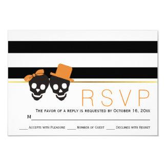 "Skull couple and stripes Halloween wedding RSVP 3.5"" X 5"" Invitation Card"