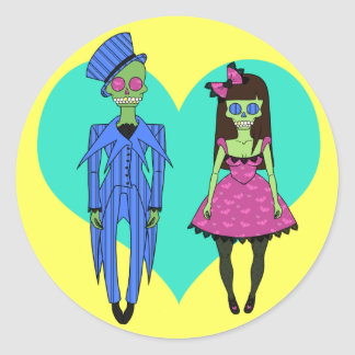 Skull Couple Classic Round Sticker