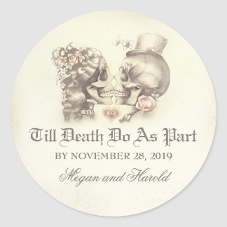 Skull couple wedding stickers