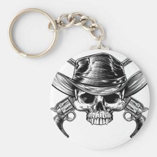 Skull Cowboy and Guns Basic Round Button Keychain