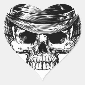 Skull Cowboy and Guns Heart Sticker