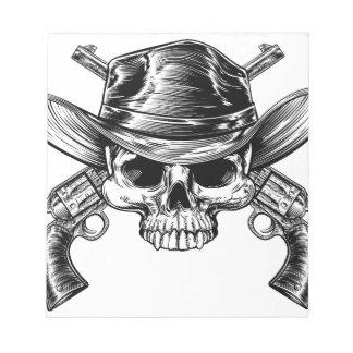 Skull Cowboy and Guns Notepads