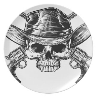 Skull Cowboy and Guns Plates