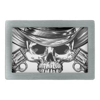 Skull Cowboy and Guns Rectangular Belt Buckles