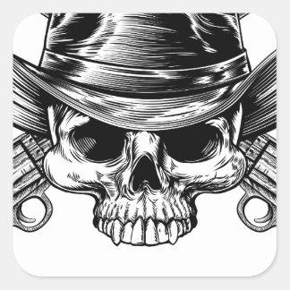 Skull Cowboy and Guns Square Sticker