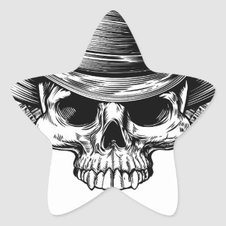 Skull Cowboy and Guns Star Sticker