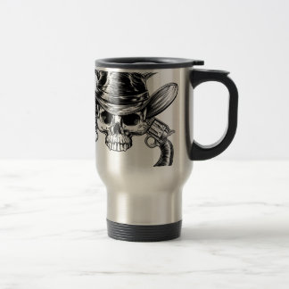 Skull Cowboy and Guns Travel Mug
