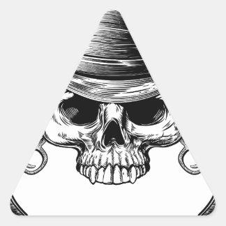 Skull Cowboy and Guns Triangle Sticker