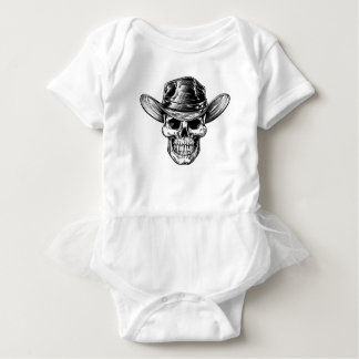 Skull Cowboy Hat Drawing Baby Bodysuit