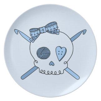 Skull & Crochet Hooks (Baby Blue Background) Dinner Plate