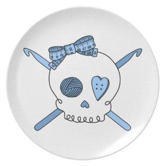 Skull & Crochet Hooks (Baby Blue) Party Plate