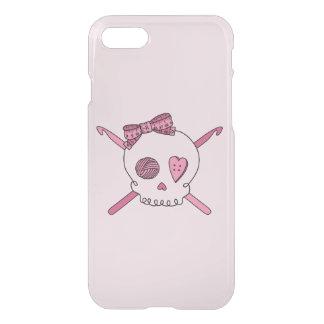 Skull & Crochet Hooks (Hair Bow & Pink Background) iPhone 7 Case