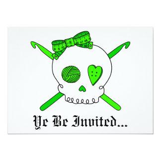 Skull & Crochet Hooks (Lime Green) Card