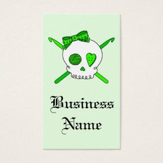 Skull & Crochet Hooks (Lime Green - White Skull) Business Card