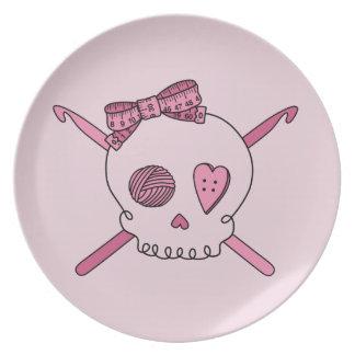 Skull & Crochet Hooks (Pink Background) Dinner Plates