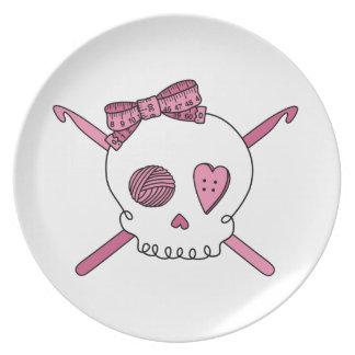 Skull & Crochet Hooks (Pink) Plates