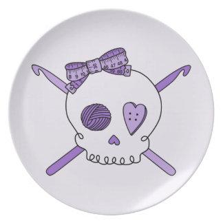 Skull & Crochet Hooks (Purple Background) Dinner Plates