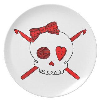 Skull & Crochet Hooks (Red) Plate