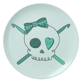 Skull & Crochet Hooks (Turquoise Background) Plates