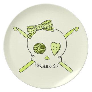 Skull & Crochet Hooks (Yellow Background) Plate