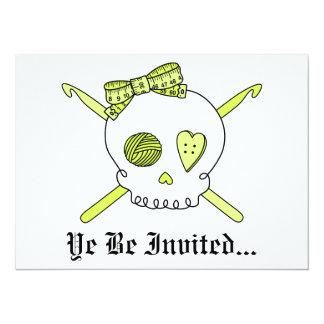 Skull & Crochet Hooks (Yellow) Card
