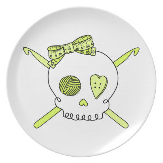 Skull & Crochet Hooks (Yellow) Party Plate
