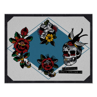 Skull Cross and Roses Traditional Tattoo Flash Poster